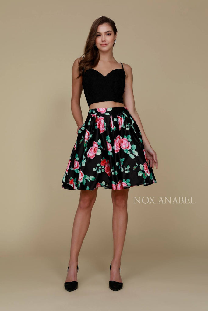 Nox Anabel Q604 Short Black Floral Two Piece Homecoming With Pockets