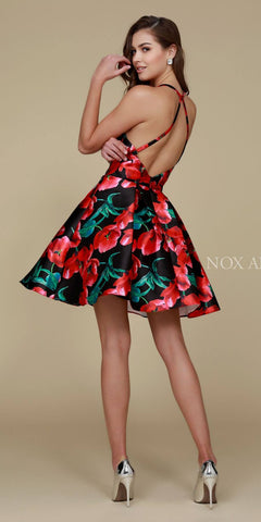 Nox Anabel Q605 Black Floral Print Short Party Dress A Line Back View