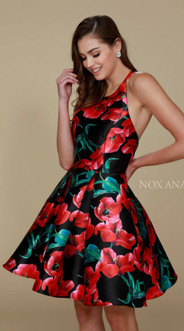 Nox Anabel Q605 Black Floral Print Short Party Dress A Line