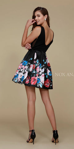 Nox Anabel Q606 Super Cute Black Floral Print Design Homecoming Dress Back View
