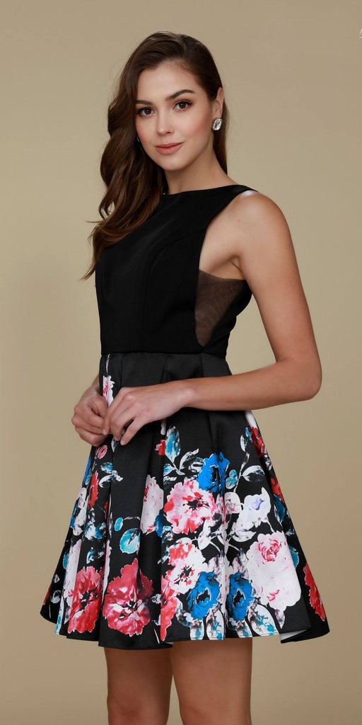 Nox Anabel Q606 Super Cute Black Floral Print Design Homecoming Dress