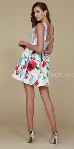 Nox Anabel Q606 White Floral Print Design Dress Short A Line Back View
