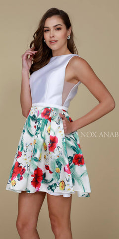 Nox Anabel Q606 White Floral Print Design Dress Short A Line