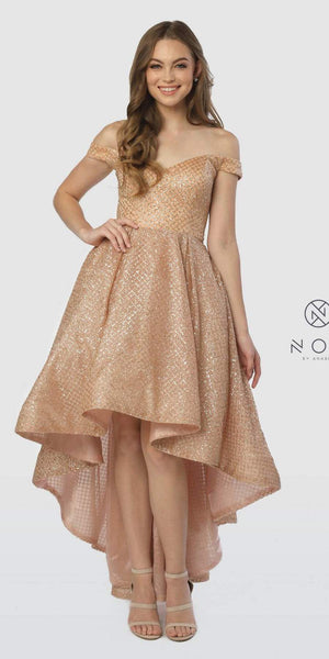Off-the-Shoulder Glitter High-Low Prom Dress Gold