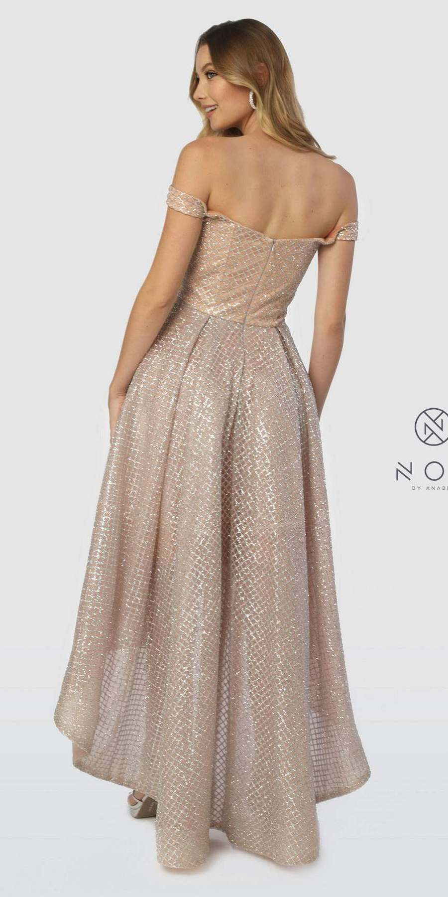 4b3a1597024 Nox Anabel R164 Off-the-Shoulder Glitter High-Low Prom Dress Silver ...