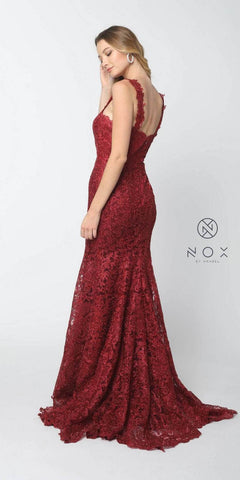 Sweetheart Neck Lace Mermaid Long Prom Dress Burgundy