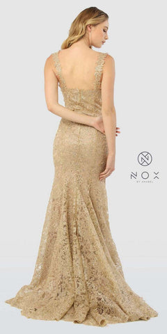 Sweetheart Neck Lace Mermaid Long Prom Dress Gold