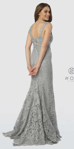 Sweetheart Neck Lace Mermaid Long Prom Dress Silver