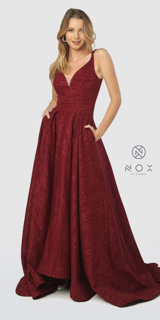 Burgundy Prom Ball Gown V-Neck and Back with Pockets