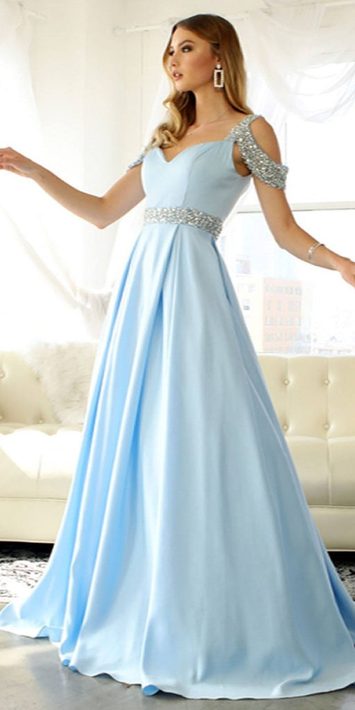 Nox Anabel R224 Long Light Blue A-Line Gown Cold Shoulder Strap Pockets