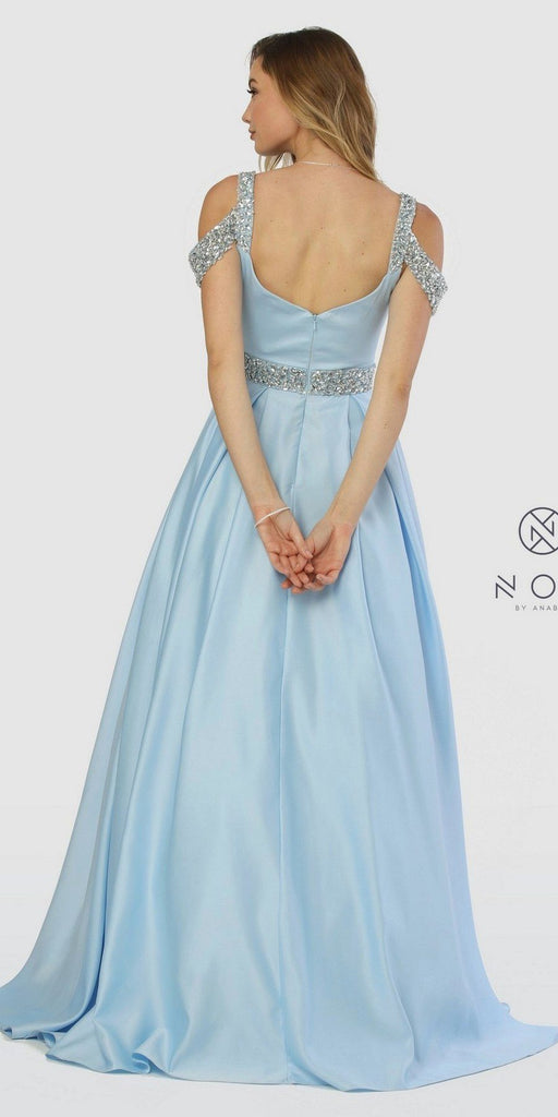 Embellished Cold-Shoulder Long Prom Dress with Pockets Light Blue