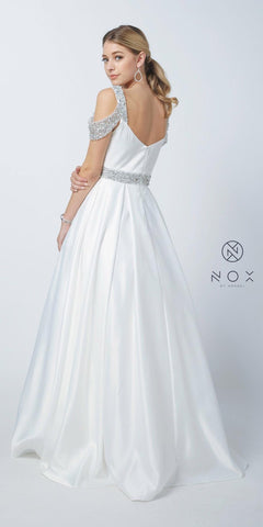 Embellished Cold-Shoulder Long Prom Dress with Pockets White