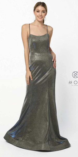 Metallic Royal Gold Long Prom Dress with Spaghetti Straps
