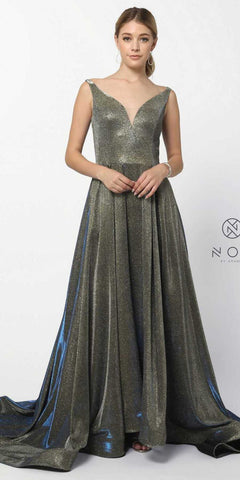 Royal Gold Metallic A-line Long Prom Dress V-Neck and Back