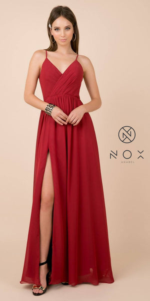 Burgundy A-Line Long Formal Dress with Spaghetti Strap