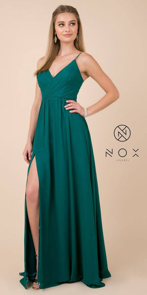 Green A-Line Long Formal Dress with Spaghetti Strap