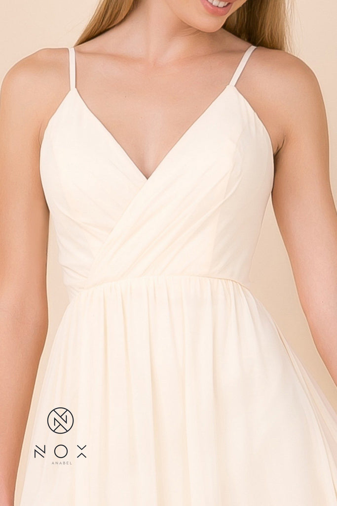 Light Gold A-Line Long Formal Dress with Spaghetti Strap