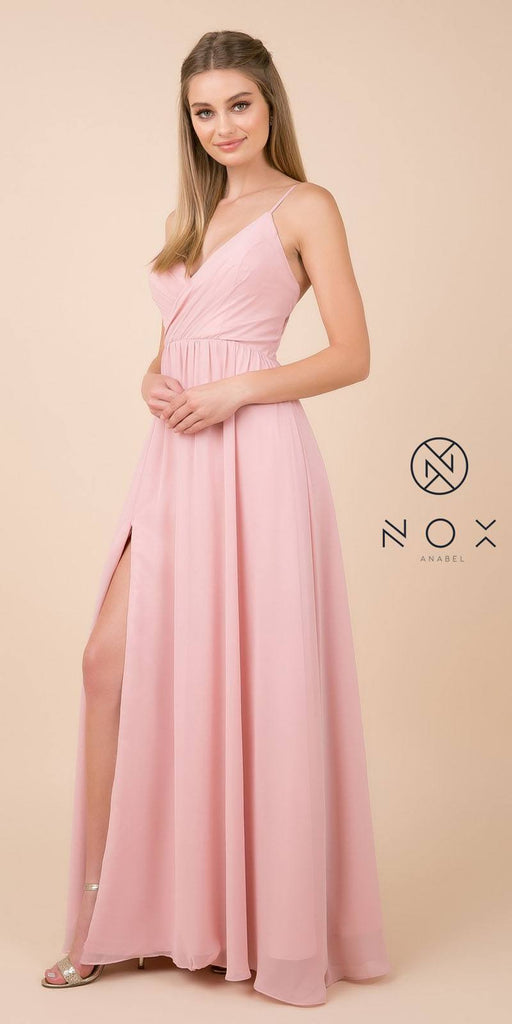 Rose A-Line Long Formal Dress with Spaghetti Strap