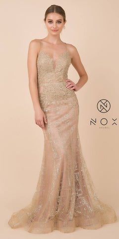 Gold Mermaid Long Prom Dress Corset Open-Back