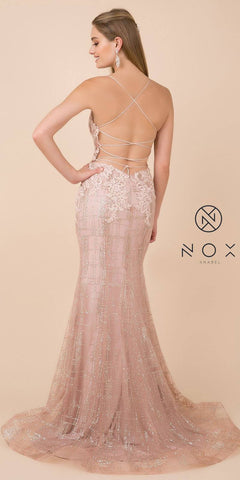Rose Gold Mermaid Long Prom Dress Corset Open-Back