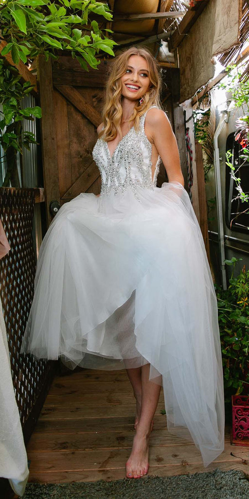 Nox Anabel R283 White A-Line Ball Gown V-Neck Beaded Top Tulle Skirt