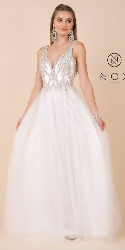 White V-Neck and Back Beaded Wedding Ball Gown