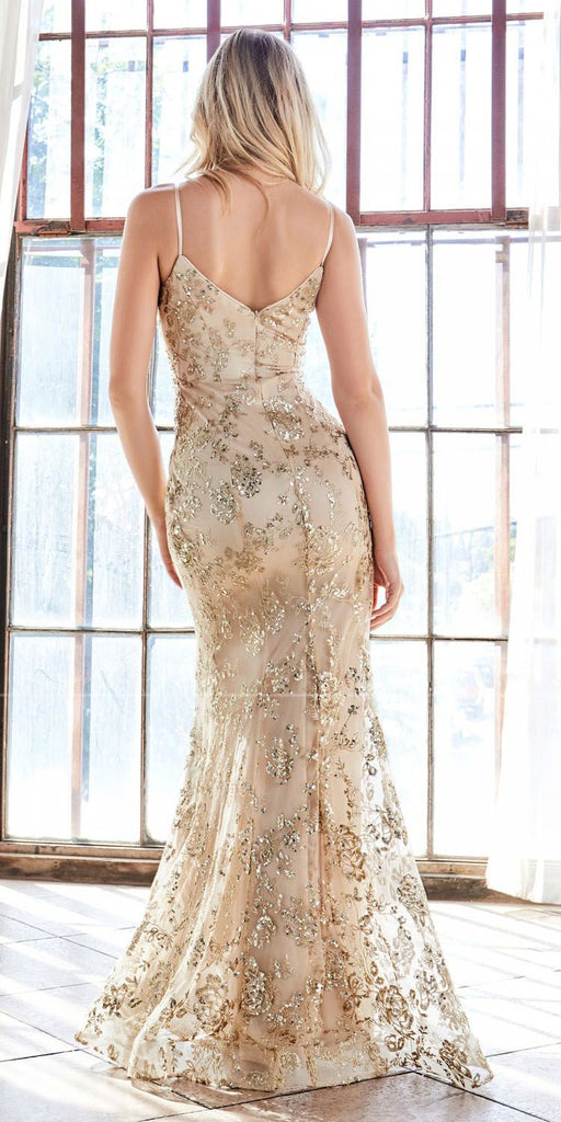 Cinderella Divine R2901 Mermaid Fitted Gown Gold Glitter Floral Print Sweetheart Neckline