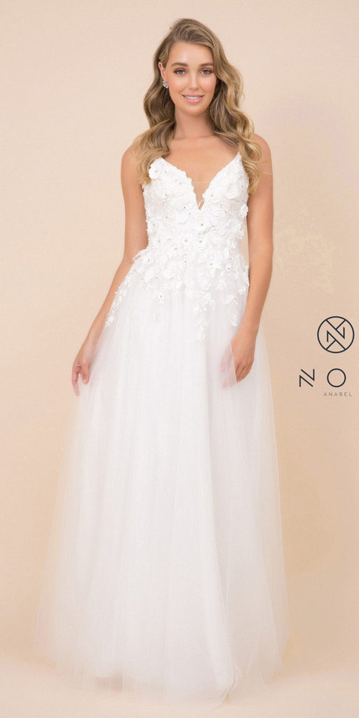 White V-Neck Long Formal Dress with Floral Appliques