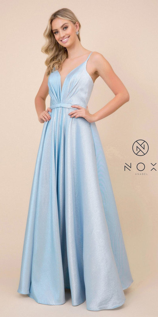 Metallic Long Prom Dress Blue with Pleated Bodice