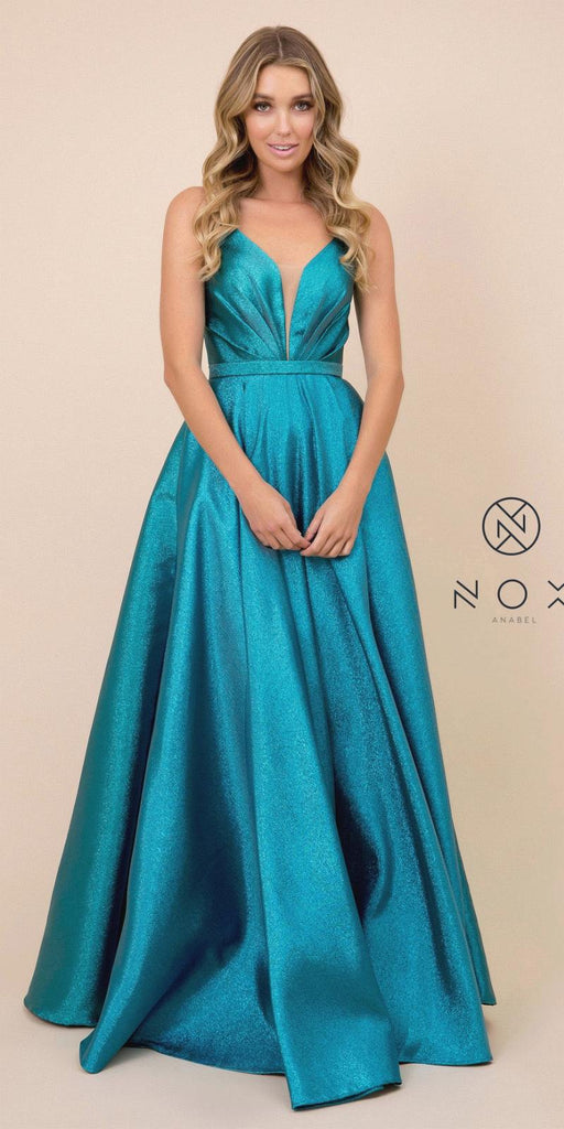 Metallic Long Prom Dress Peacock with Pleated Bodice