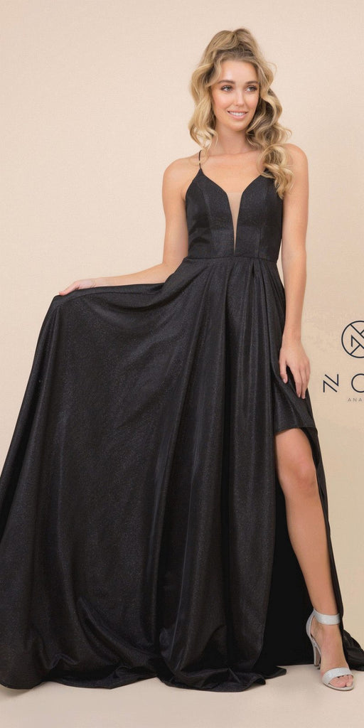 Black Metallic Long Prom Dress with Strappy-Back