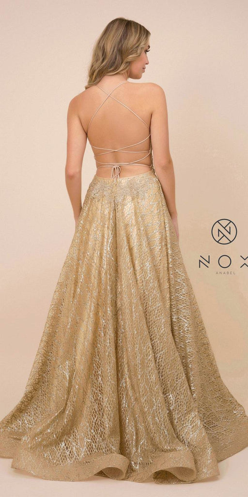 Gold Long Prom Dress with Open Lace-Up Back