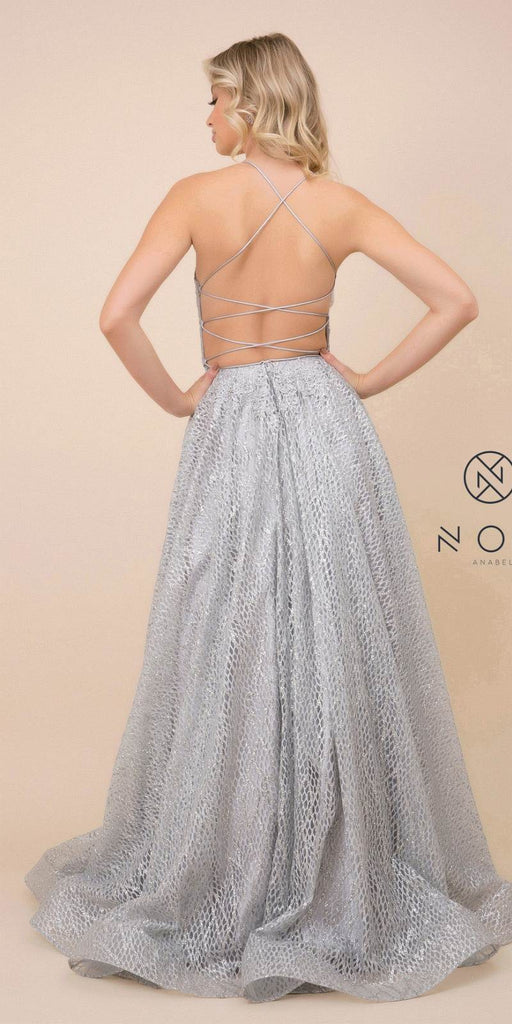 Silver Long Prom Dress with Open Lace-Up Back