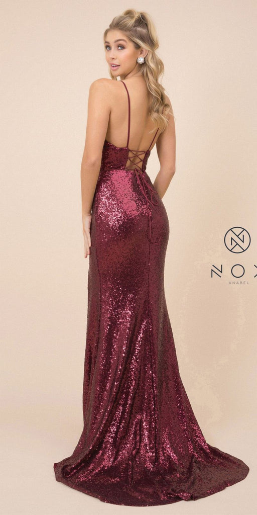 Burgundy Mermaid Sequins Long Prom Dress with Slit