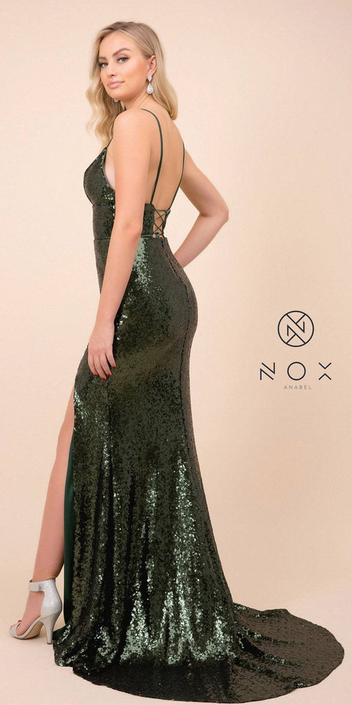 Green Mermaid Sequins Long Prom Dress with Slit