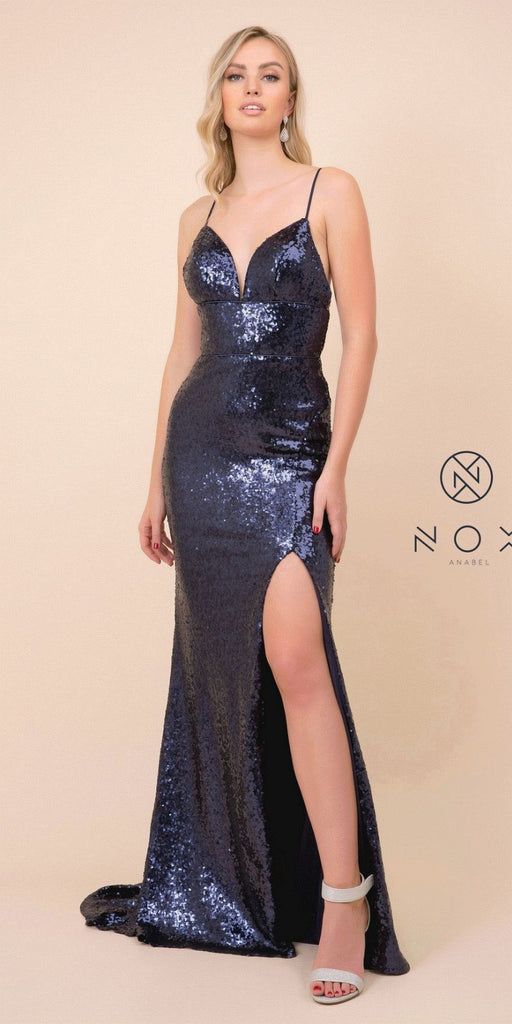 Navy Blue Mermaid Sequins Long Prom Dress with Slit
