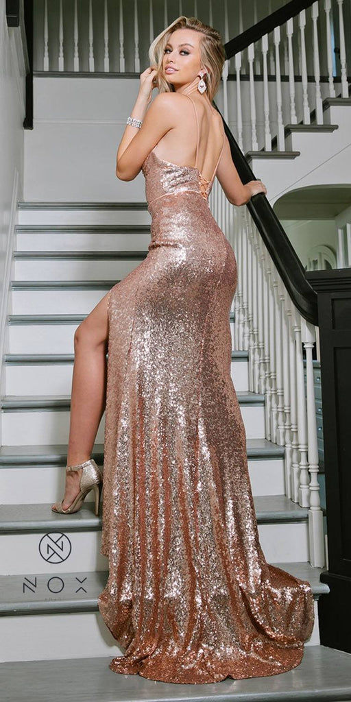 ox Anabel R350 Long Rose Gold Mermaid Sequins Formal Gown With Slit