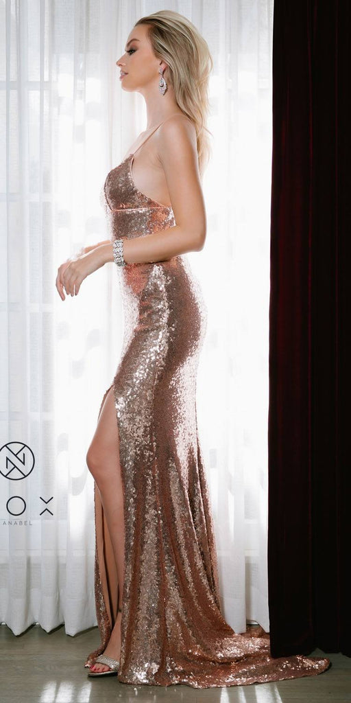 Rose Gold Mermaid Sequins Long Prom Dress with Slit