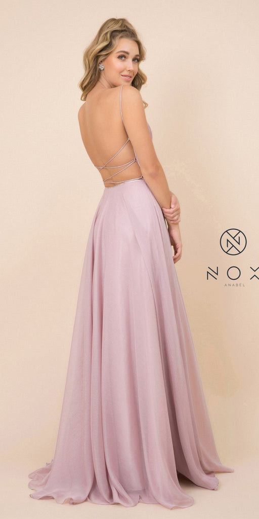 Ruched Bodice Dusty Rose Long Prom Dress with Open-Back