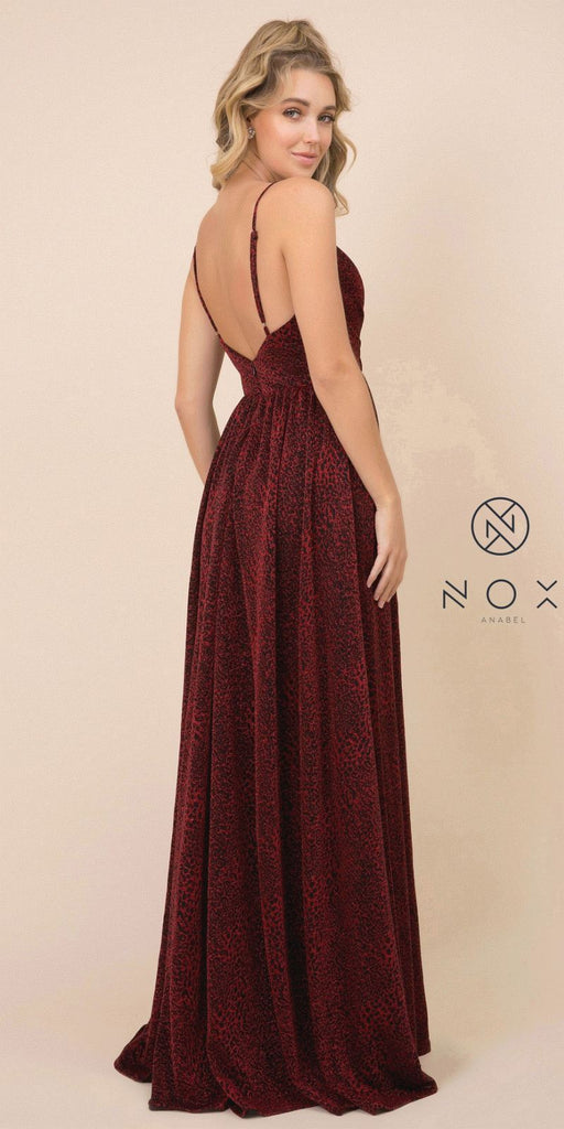 Black/Burgundy Deep V-Neck Long Prom Dress with Slit