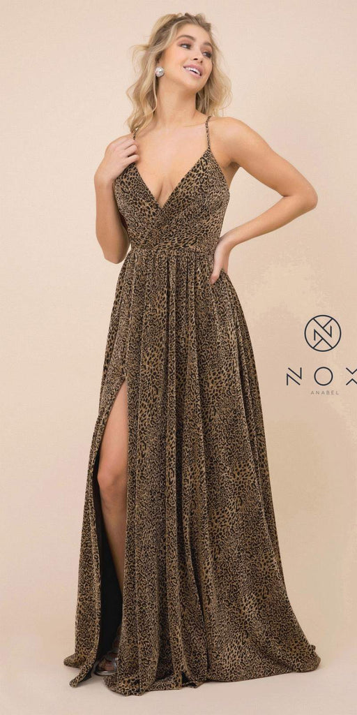 Black/Gold Deep V-Neck Long Prom Dress with Slit