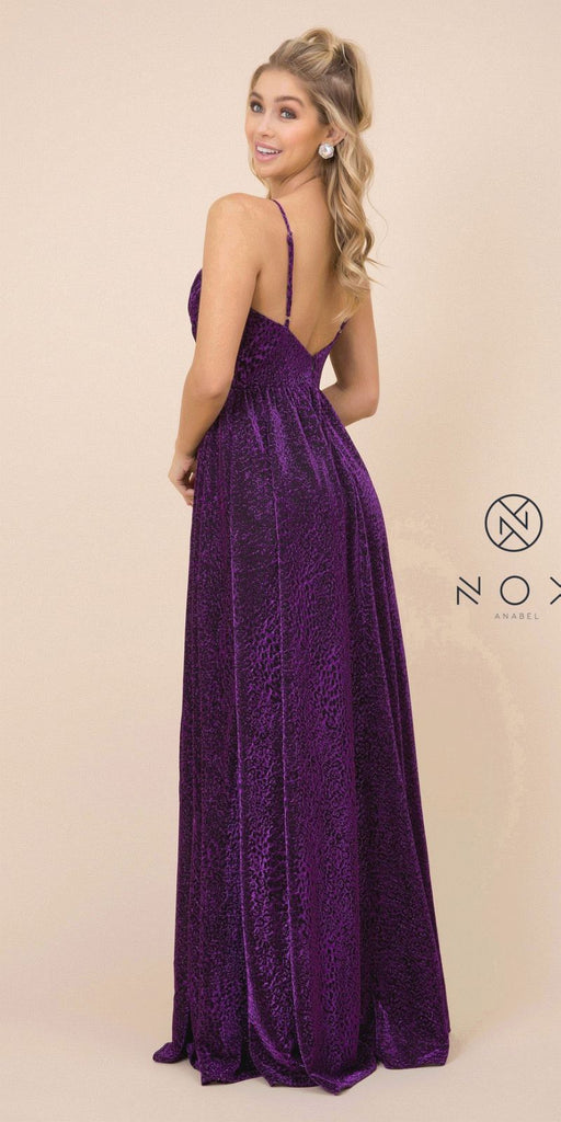 Black/Magenta Deep V-Neck Long Prom Dress with Slit