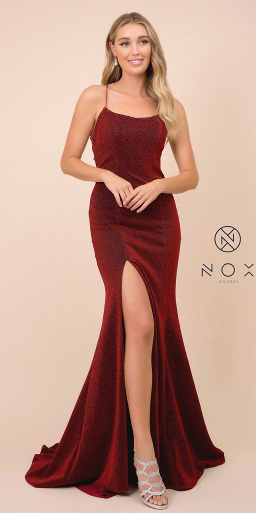 Mermaid Long Prom Dress Open-Back with Slit Burgundy