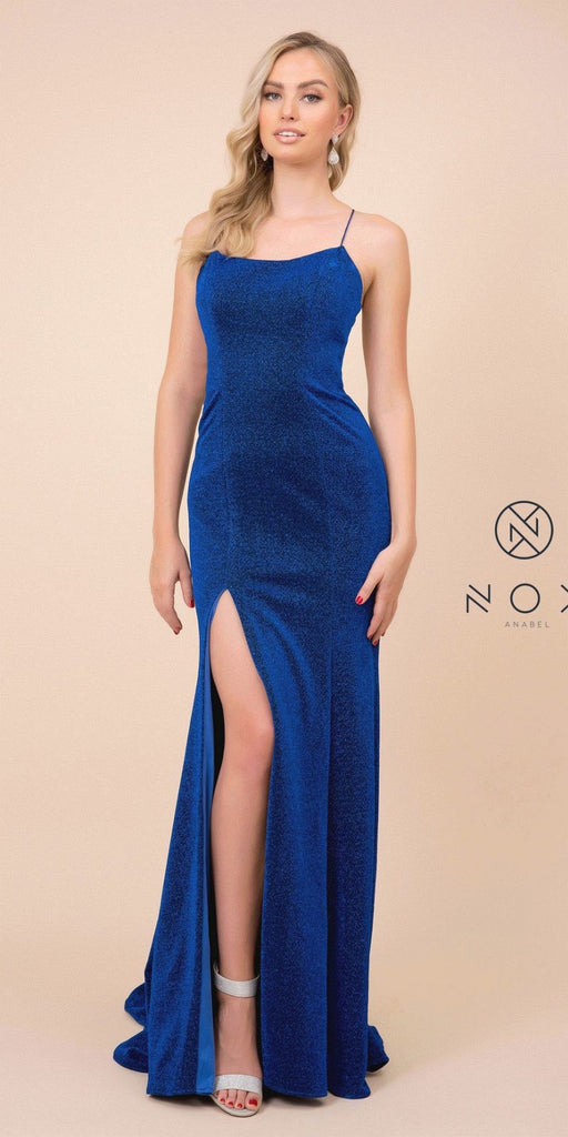 Mermaid Long Prom Dress Open-Back with Slit Royal Blue