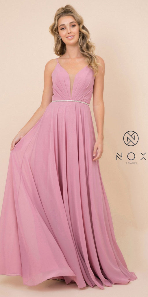 Dusty Rose A-Line Long Formal Dress with Lace-Up Open Back