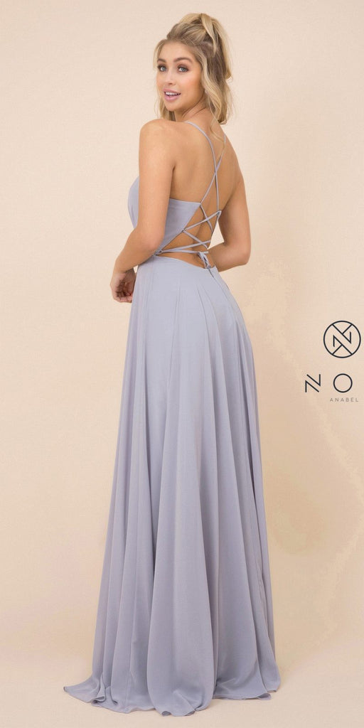 Gray A-Line Long Formal Dress with Lace-Up Open Back