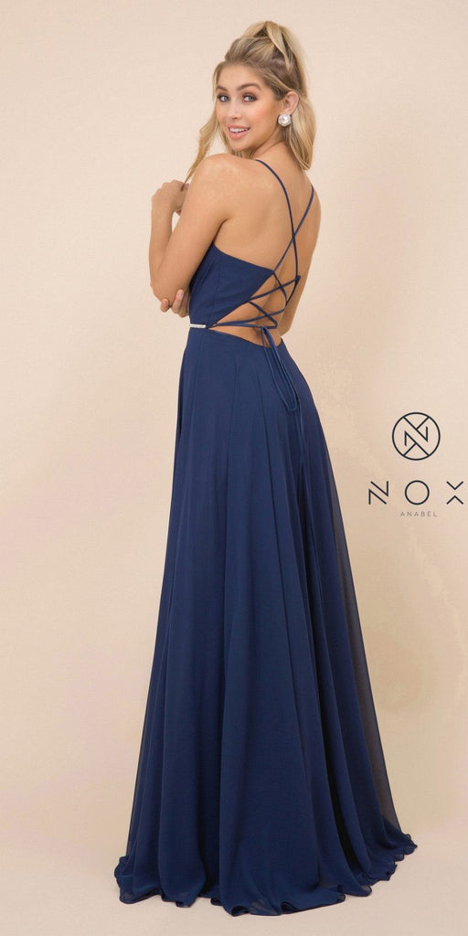 Navy Blue A-Line Long Formal Dress with Lace-Up Open Back