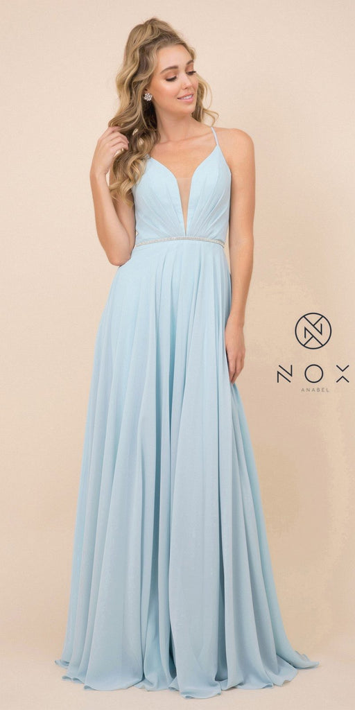 Pale Turquoise A-Line Long Formal Dress with Lace-Up Open Back