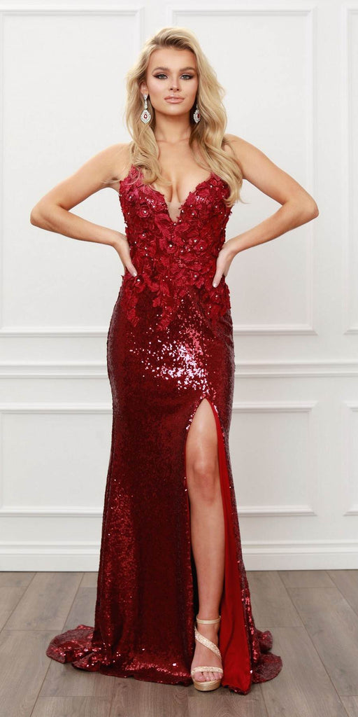 Nox Anabel R429 Floral Applique and Bead Embellishments Burgundy Sequins Gown