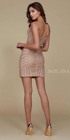 Nox Anabel R650 Two Piece Sexy Cocktail Dress Gold Tight Fit Back View